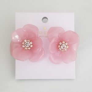 kate spade slice of stone pink flower earrings
